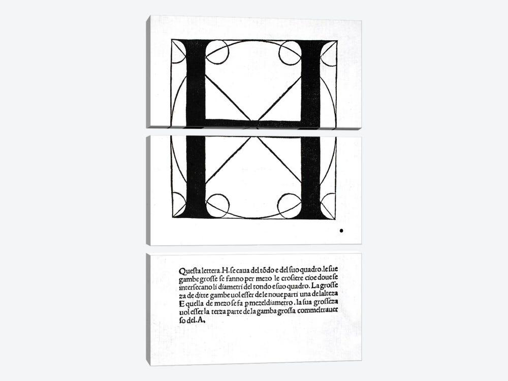 Letter H by Leonardo da Vinci 3-piece Canvas Art Print
