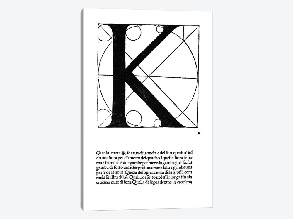 K, illustration from 'Divina Proportione' by Luca Pacioli 1-piece Canvas Print