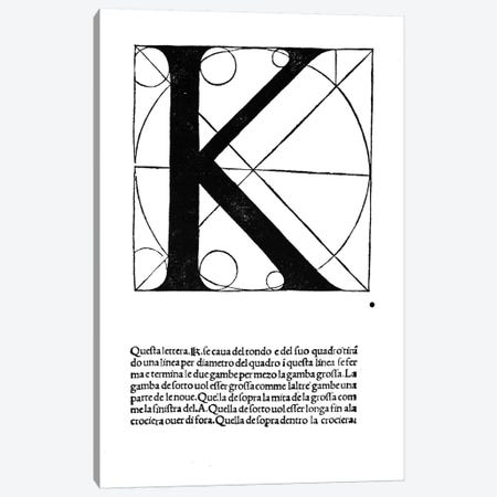 Letter K Canvas Print #BMN4198} by Leonardo da Vinci Canvas Artwork