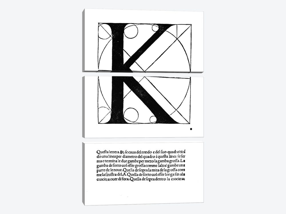 Letter K by Leonardo da Vinci 3-piece Art Print