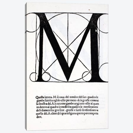 Letter M Canvas Print #BMN4199} by Leonardo da Vinci Canvas Artwork