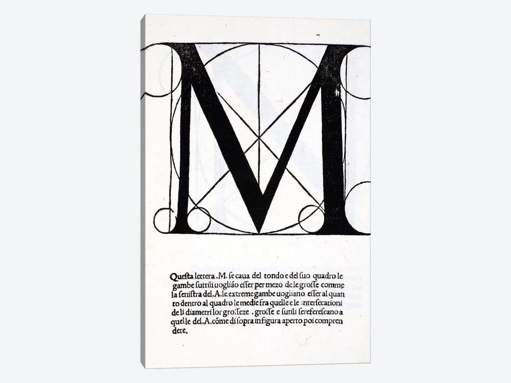Letter M by Leonardo da Vinci 1-piece Canvas Art