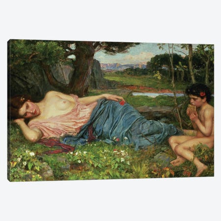 Listen To My Sweet Pipings, 1911  Canvas Print #BMN419} by John William Waterhouse Canvas Print