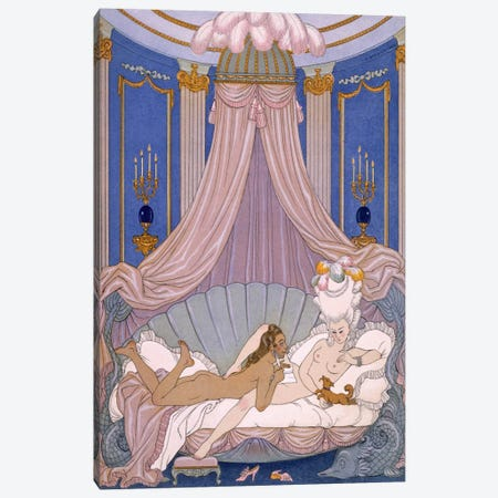 Scene from 'Les Liaisons Dangereuses' by Pierre Chodlerlos de Laclos Canvas Print #BMN41} by George Barbier Canvas Art