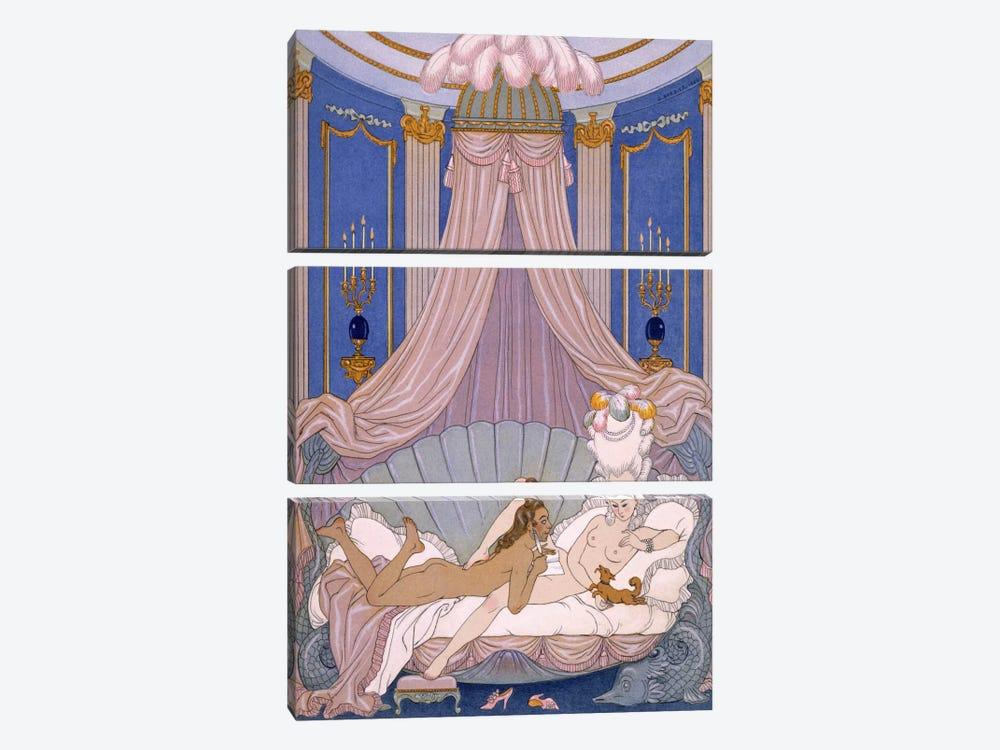 Scene from 'Les Liaisons Dangereuses' by Pierre Chodlerlos de Laclos by George Barbier 3-piece Art Print
