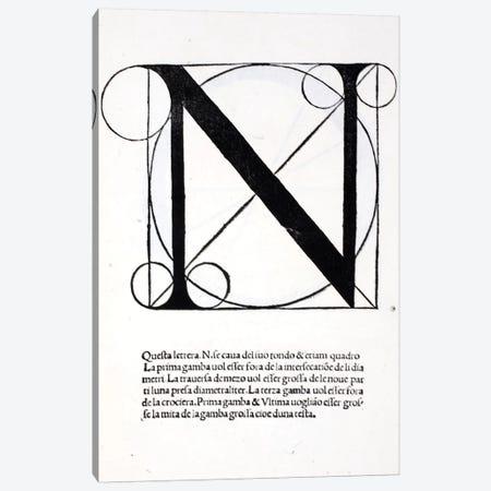 Letter N Canvas Print #BMN4200} by Leonardo da Vinci Canvas Art
