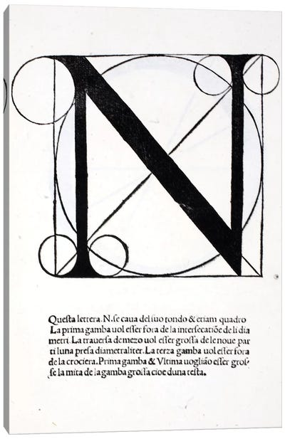 Letter N Canvas Art Print