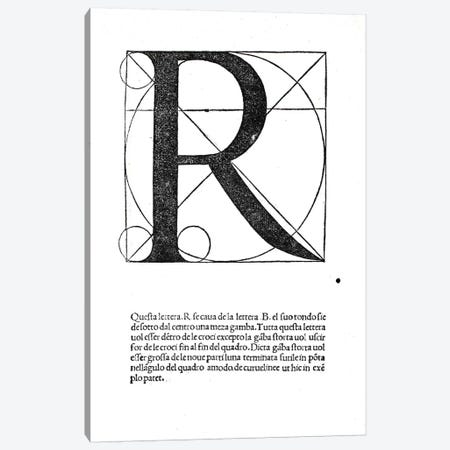 R, illustration from 'Divina Proportione' by Luca Pacioli  Canvas Print #BMN4205} by Leonardo da Vinci Canvas Print