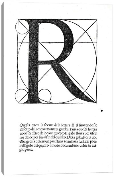 R, illustration from 'Divina Proportione' by Luca Pacioli  Canvas Print #BMN4205