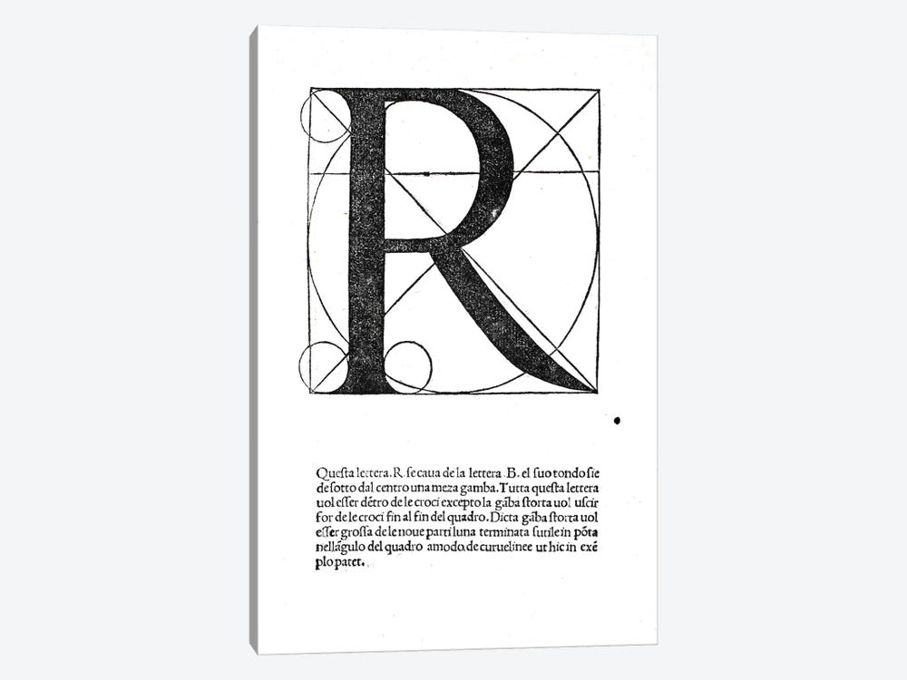 R, illustration from 'Divina Proportione' by Luca Pacioli by Leonardo da Vinci 1-piece Art Print