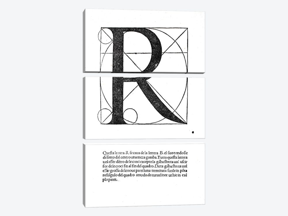 Letter R by Leonardo da Vinci 3-piece Canvas Art Print