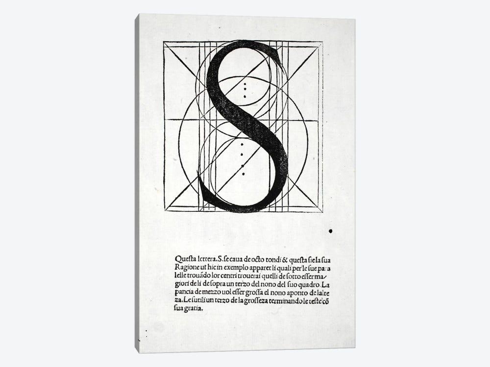 Letter S by Leonardo da Vinci 1-piece Canvas Wall Art