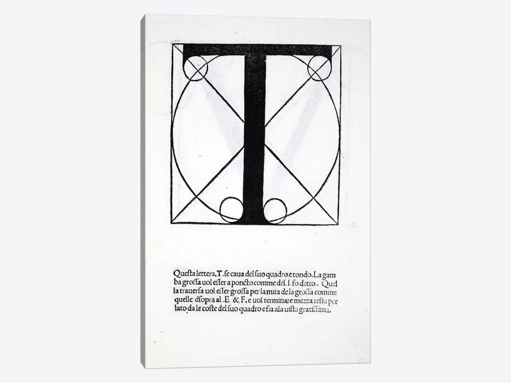 Letter T by Leonardo da Vinci 1-piece Canvas Art Print