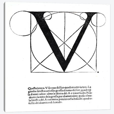 V, illustration from 'Divina Proportione' by Luca Pacioli  Canvas Print #BMN4208} by Leonardo da Vinci Canvas Art