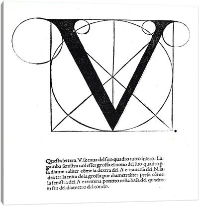 V, illustration from 'Divina Proportione' by Luca Pacioli Canvas Art Print