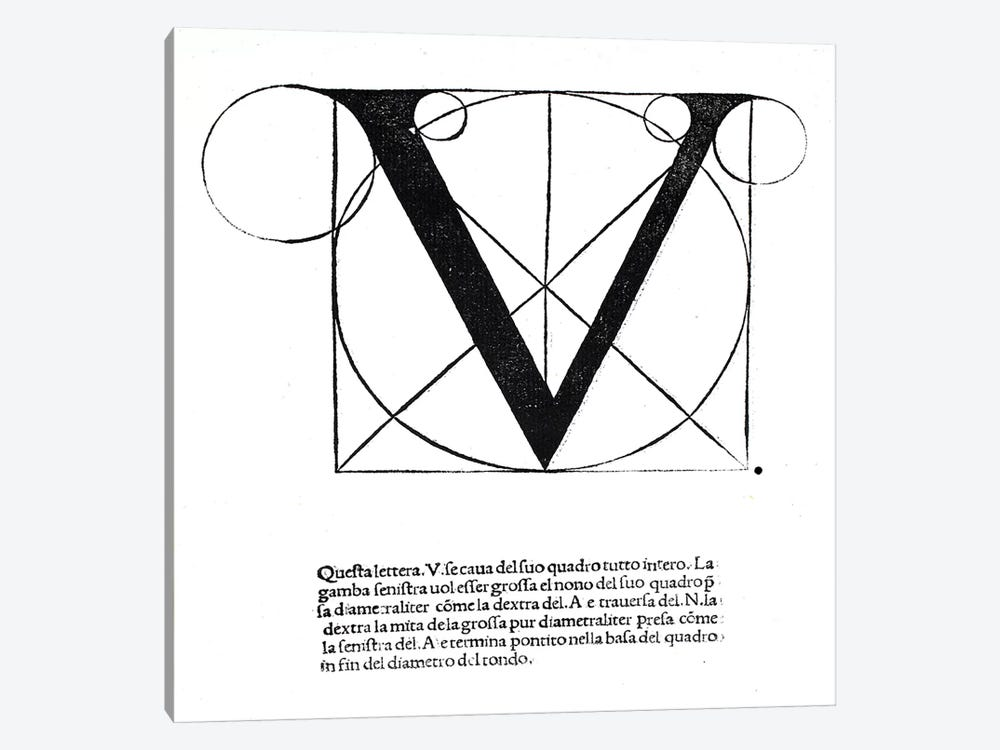 V, illustration from 'Divina Proportione' by Luca Pacioli  1-piece Canvas Artwork