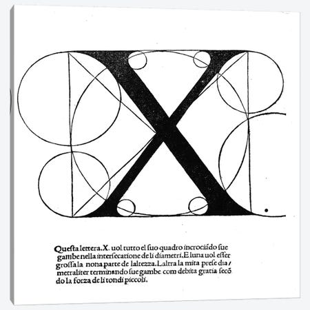X, illustration from 'Divina Proportione' by Luca Pacioli  Canvas Print #BMN4209} by Leonardo da Vinci Canvas Wall Art