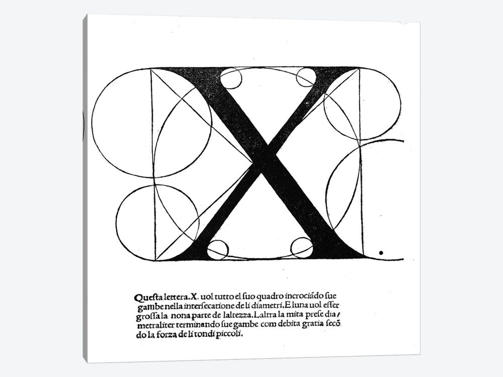 X, illustration from 'Divina Proportione' by Luca Pacioli 1-piece Art Print