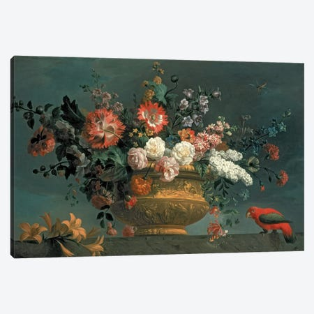 Flower piece with parrot Canvas Print #BMN420} by Jakob Bogdani Canvas Art