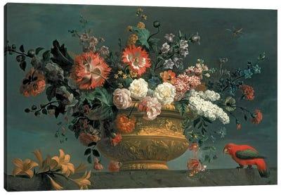 Flower piece with parrot Canvas Art Print