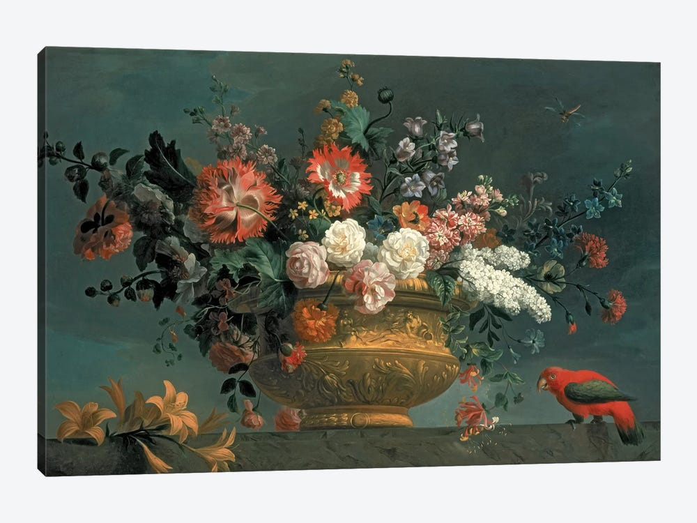 Flower piece with parrot by Jakob Bogdani 1-piece Canvas Art