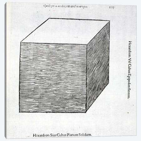 Hexaedron planum solidum, illustration from 'Divina Proportione' by Luca Pacioli  Canvas Print #BMN4217} by Leonardo da Vinci Canvas Wall Art