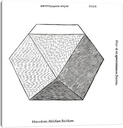 Hexaedron abscisum solidum, illustration from 'Divina Proportione' by Luca Pacioli  Canvas Print #BMN4219