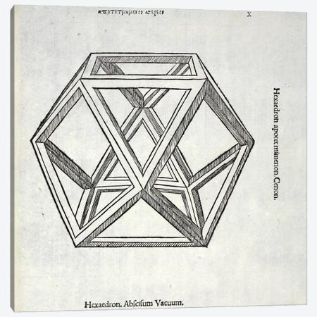 Hexaedron abscisum vacuum, illustration from 'Divina Proportione' by Luca Pacioli  Canvas Print #BMN4220} by Leonardo da Vinci Canvas Art