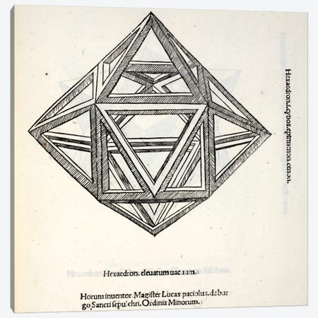 Hexaedron Elevatum Vacuum Canvas Print #BMN4222} by Leonardo da Vinci Canvas Artwork
