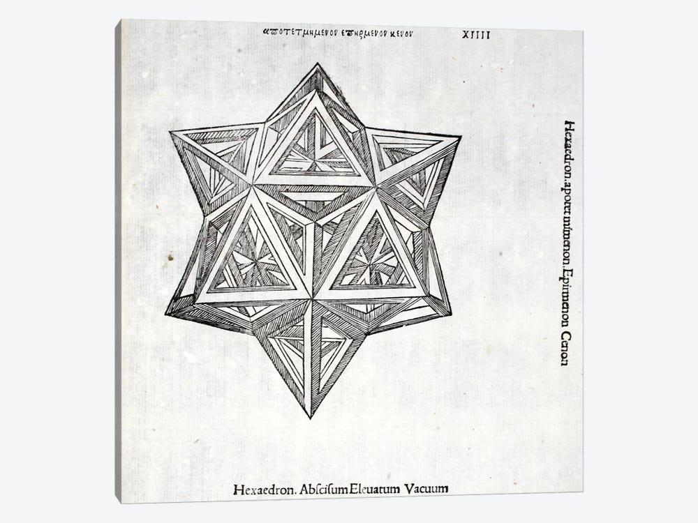 Hexacedron Abscisum Elevatum Vacuum by Leonardo da Vinci 1-piece Canvas Wall Art