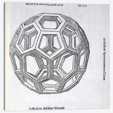 Icosaedron Abscisum Vacuum Canvas Print #BMN4233} by Leonardo da Vinci Canvas Print