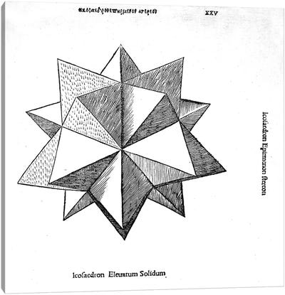 Icosaedron elevatum solidum, illustration from 'Divina Proportione' by Luca Pacioli  Canvas Print #BMN4234