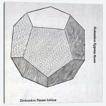 Dodecaedron planum solidum, illustration from 'Divina Proportione' by Luca Pacioli  Canvas Print #BMN4236} by Leonardo da Vinci Canvas Artwork