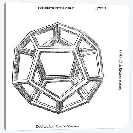 Dodecaedron Planum Vacuum Canvas Print #BMN4237} by Leonardo da Vinci Canvas Wall Art