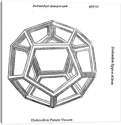 Dodecaedron planum vacuum, illustration from 'Divina Proportione' by Luca Pacioli  Canvas Print #BMN4237