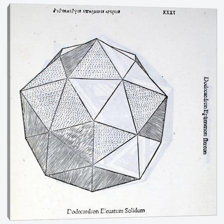 Dodecaedron Elevatum Solidum Canvas Print #BMN4239} by Leonardo da Vinci Canvas Art Print