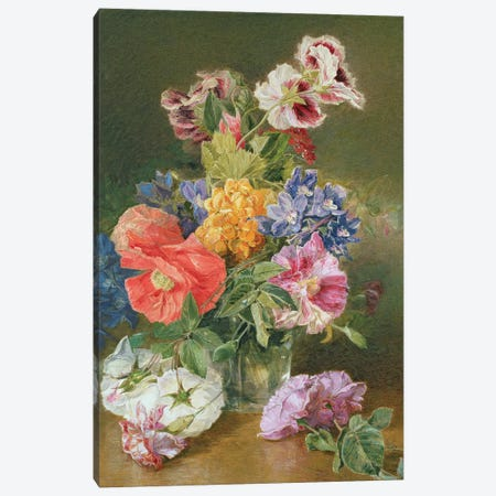 Roses, Poppy and Pelargonia Canvas Print #BMN423} by James Holland Canvas Wall Art