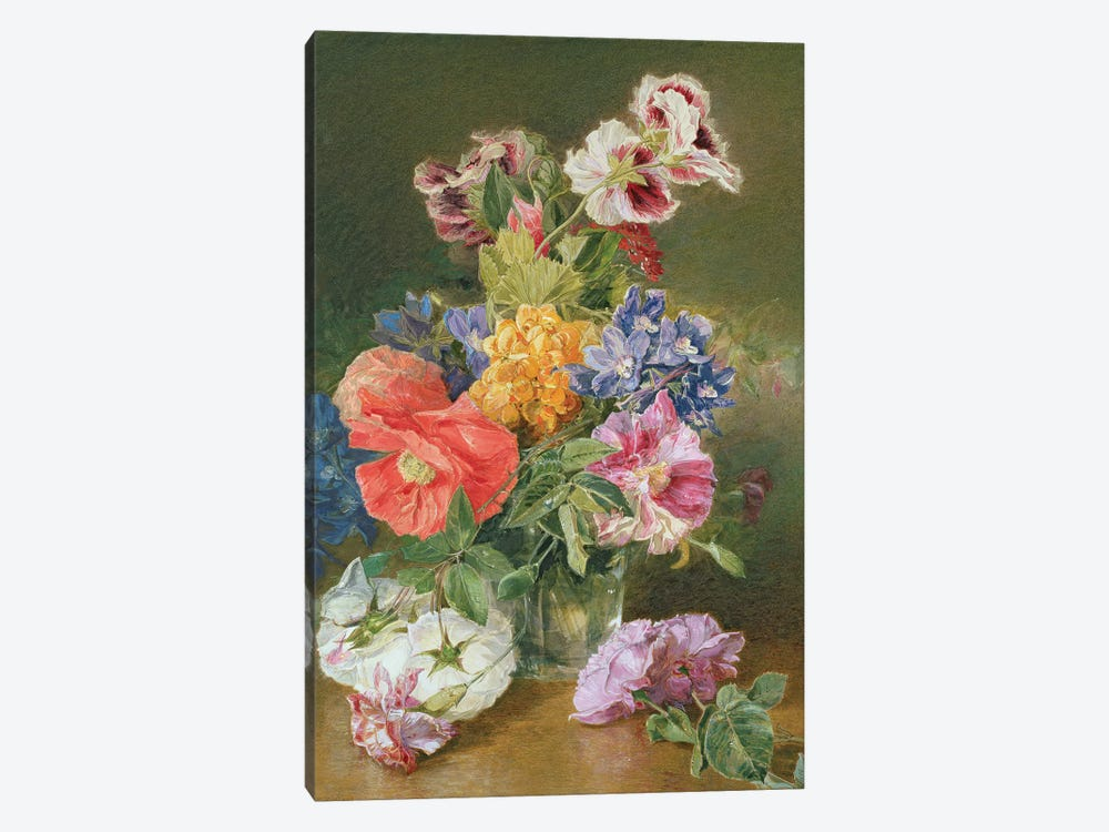 Roses, Poppy and Pelargonia by James Holland 1-piece Art Print