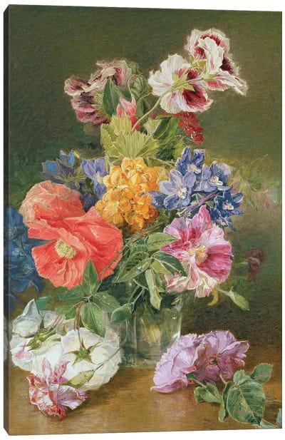 Roses, Poppy and Pelargonia Canvas Art Print