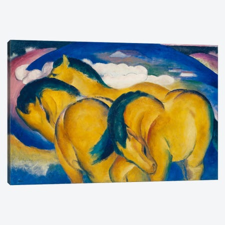 The Little Yellow Horses, 1912  Canvas Print #BMN4243} by Franz Marc Canvas Artwork