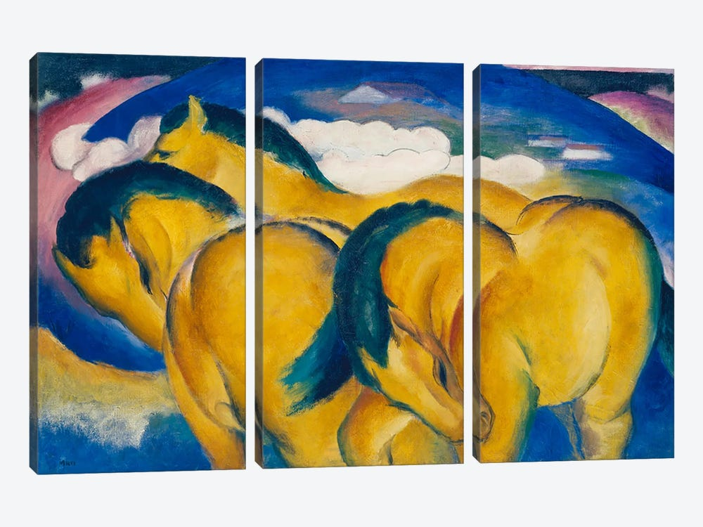 The Little Yellow Horses, 1912  by Franz Marc 3-piece Canvas Art Print
