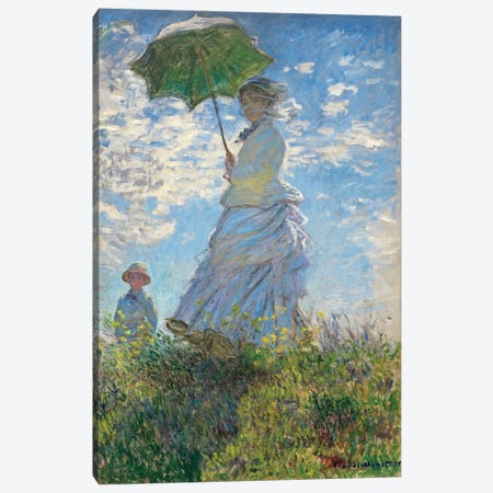 Woman with a Parasol - Madame Monet and Her Son, 1875  Canvas Print #BMN4246} by Claude Monet Canvas Print