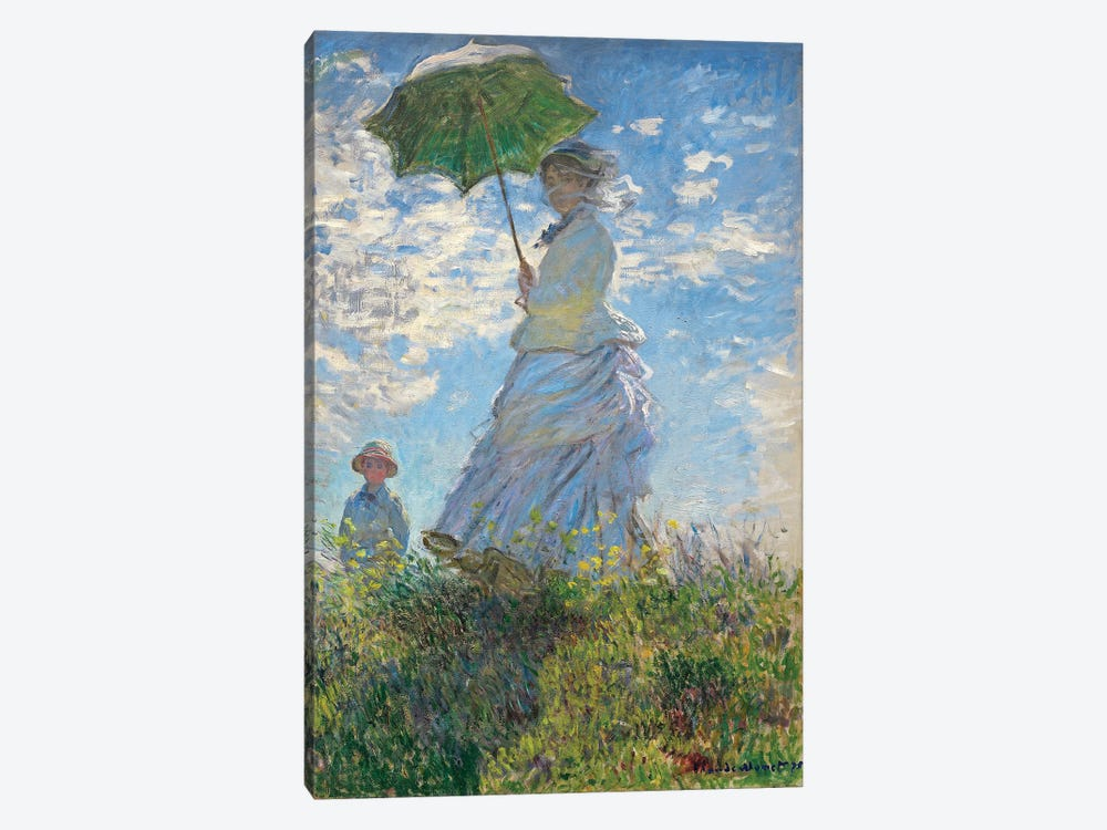 Woman with a Parasol - Madame Monet and Her Son, 1875  by Claude Monet 1-piece Canvas Wall Art