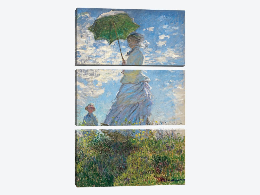 Woman with a Parasol - Madame Monet and Her Son, 1875  by Claude Monet 3-piece Canvas Wall Art