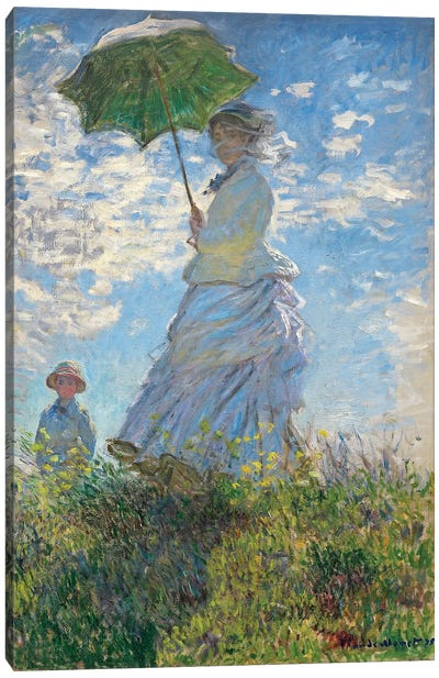 Woman with a Parasol - Madame Monet and Her Son, 1875  Canvas Art Print