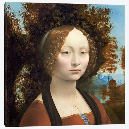 Ginevra de' Benci, c.1474-78  Canvas Print #BMN4247} by Leonardo da Vinci Canvas Art Print