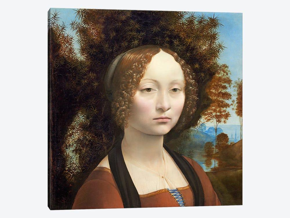 Ginevra de' Benci, c.1474-78  by Leonardo da Vinci 1-piece Canvas Art Print