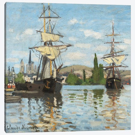 Ships Riding on the Seine at Rouen, 1872- 73  Canvas Print #BMN4253} by Claude Monet Canvas Art Print