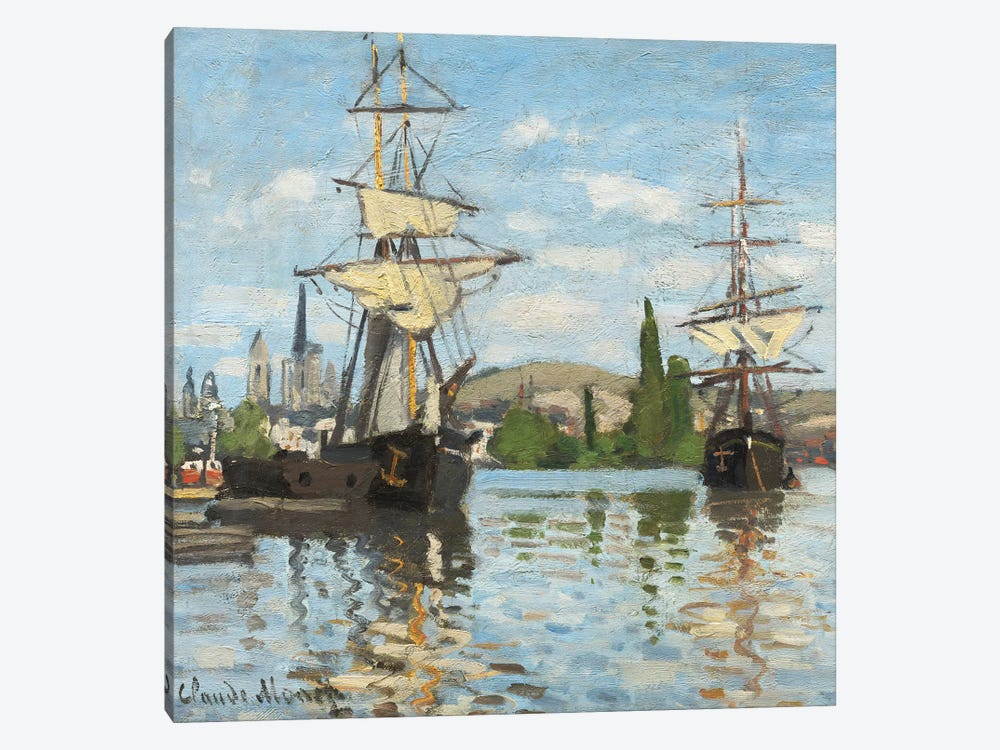 Ships Riding on the Seine at Rouen, 1872- 73  by Claude Monet 1-piece Canvas Artwork
