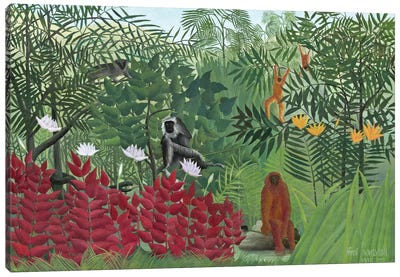 Tropical Forest With Monkeys, 1910 Canvas Art Print
